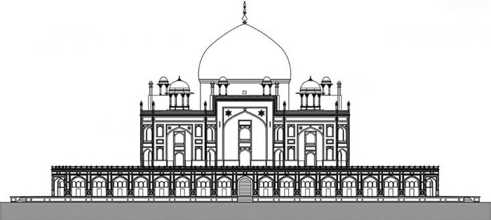 Elevation of Humayun's tomb.